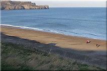 NZ8612 : Sandsend beach in January by Pauline E