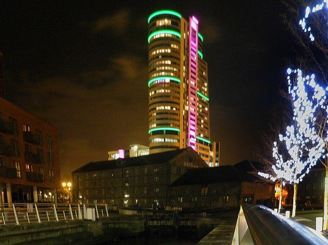 Granary Wharf at night