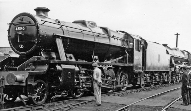 Resplendent 8F outside Paint Shop at Crewe Works
