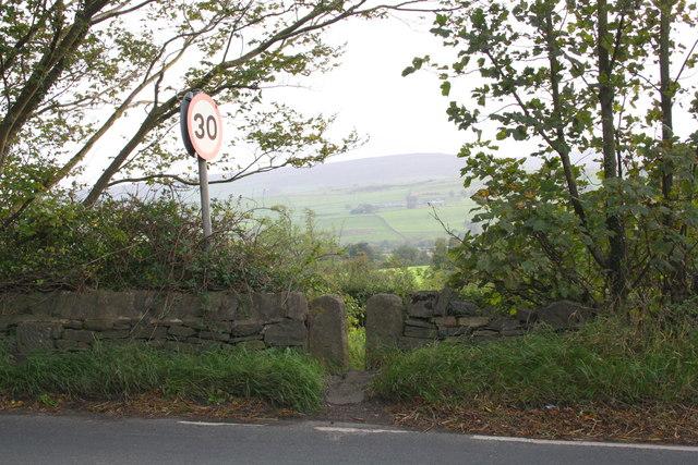 Stone stile beside A684 west of Leyburn