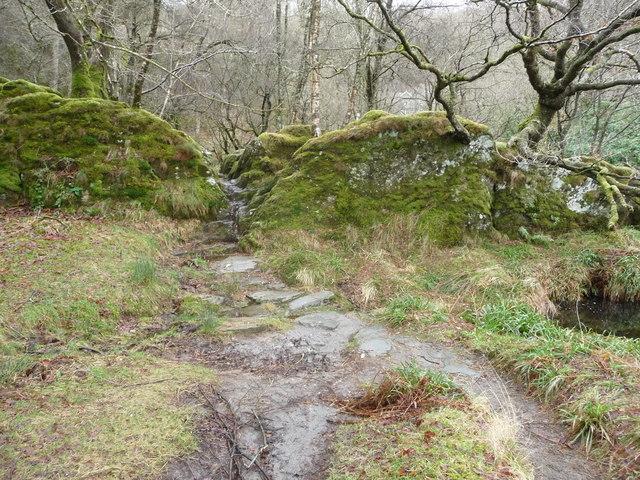 Path passing through a rock cut cleft beside the Afon Llugwy