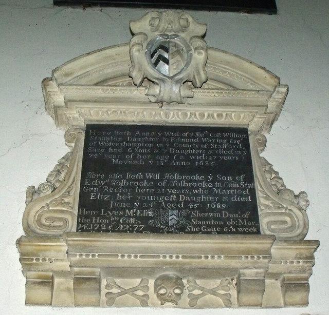 Memorial to Anne Staunton, St Mary's church