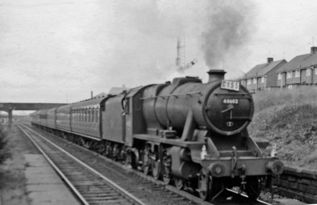 Up Relief express from Blackpool passing Farington with an 8F
