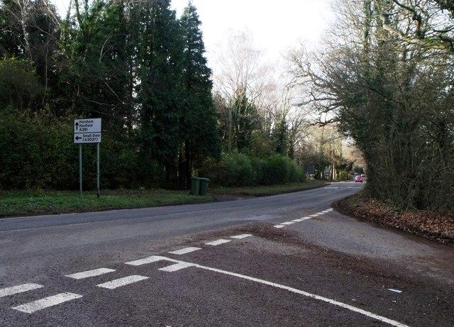 The A281 at Woodmancote