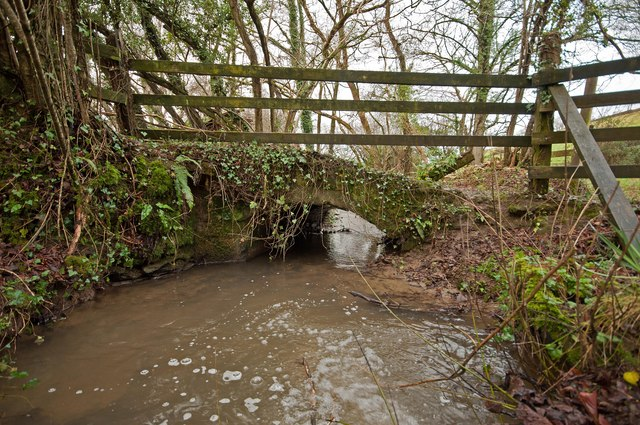 A bridge on Coney Gut, near Coombe Farm, as seen from upstream