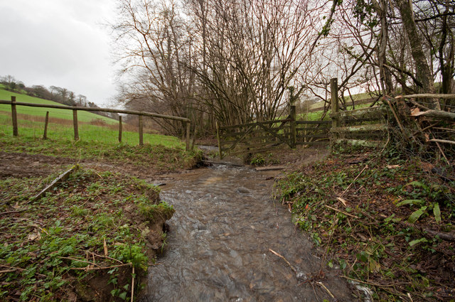 A ford next to a bridge on Coney Gut near Coombe Farm as seen from downstream