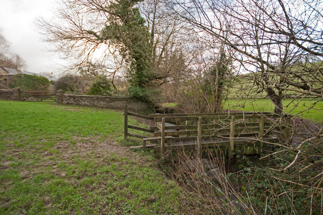 A footbridge on Coney Gut at Coombe Farm as seen from downstream