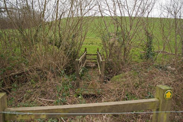 A footbridge on Coney Gut near Middle Dean Farm