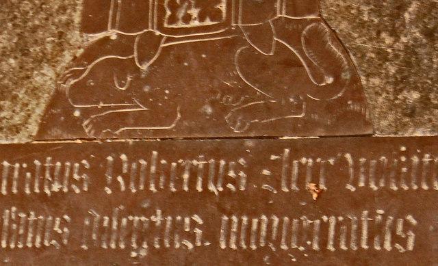 Dog at feet of Robert Clere, Brass, Battle church