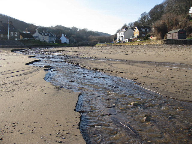 East Row Beck flowing across the beach