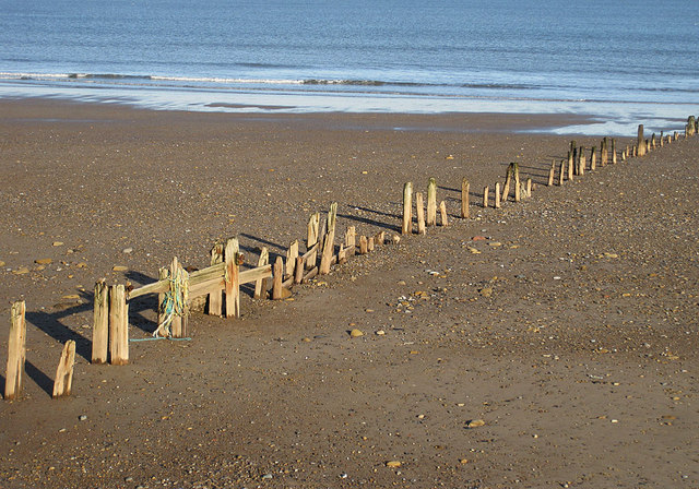 Remnants of a timber groyne