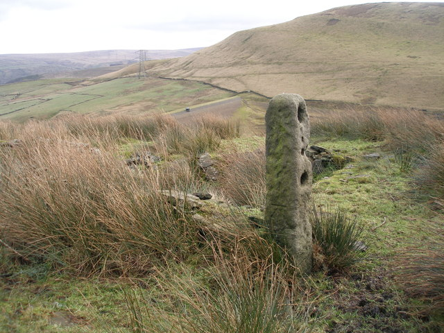 Cut benchmark on a gatepost on Foulclough Road