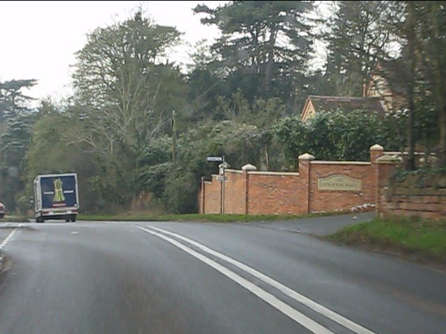 A458 at the main entrance to Stourton Hall