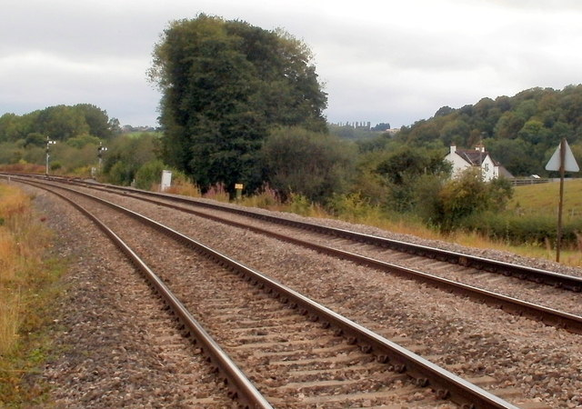 Railway lines approach the site of Pontrilas station