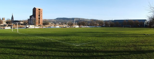 Football pitch at the former Woodyard