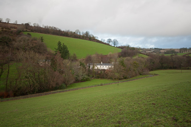 Coombe Farm in the valley occupied by Coney Gut