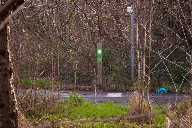 The sensor for an automated bollard system between Rose Lane and Fairacre Avenue