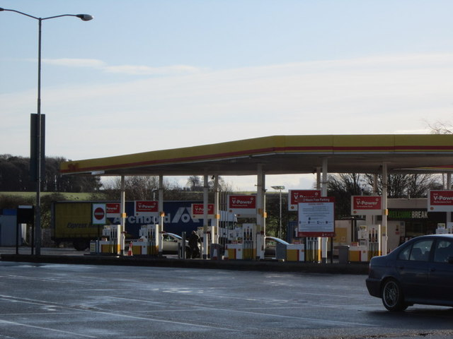 The filling station at Keele Services, M6, Northbound