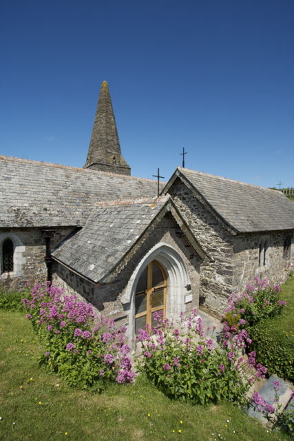 St Enodoc's Church porch and Bent Steeple