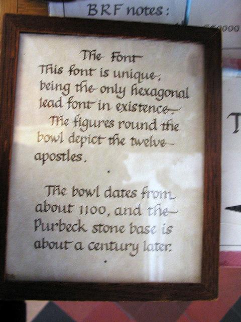 Font notice, Lady St. Mary Church, Wareham