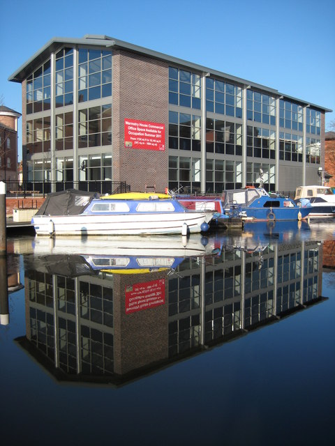 Office building reflected in Diglis Basin
