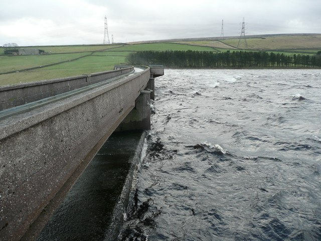 The centre of the dam, Baitings Reservoir, Rishworth