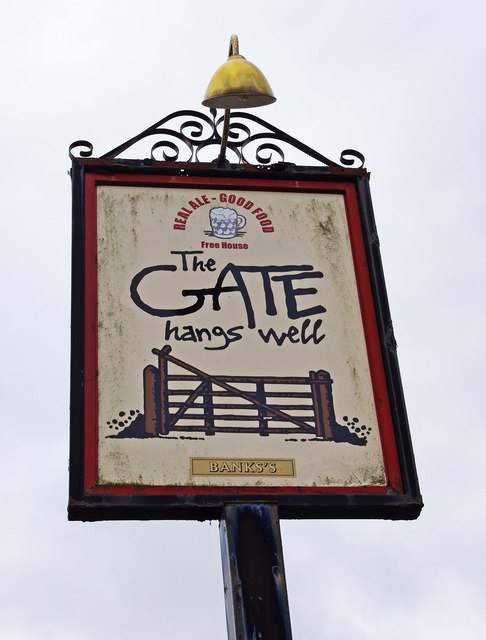 The Gate Hangs Well (3) - sign, Woodgate Road, Woodgate near Stoke Prior