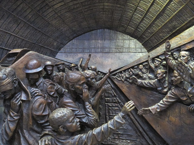 """Bas relief on the base of  """"The Meeting Place"""", St. Pancras Station"""