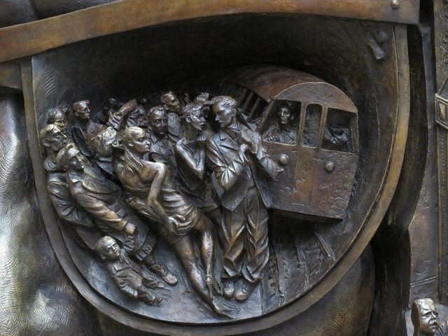 "Bas relief on the base of  ""The Meeting Place"", St. Pancras Station (2)"