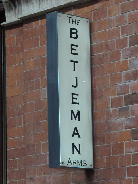 Sign for The Betjeman Arms, St. Pancras Station