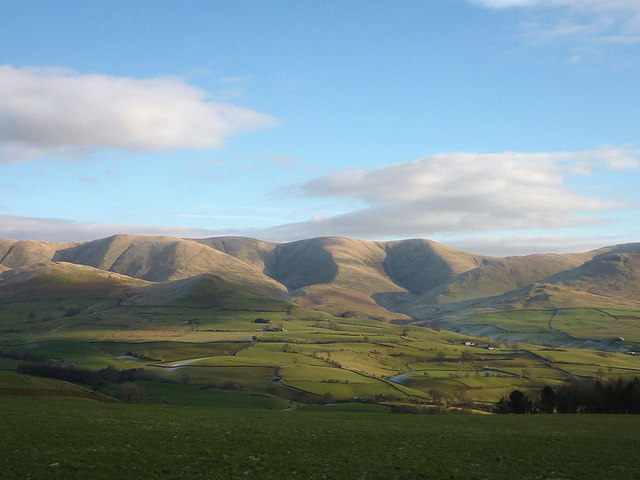 The central Howgill Fells from across the Lune Valley