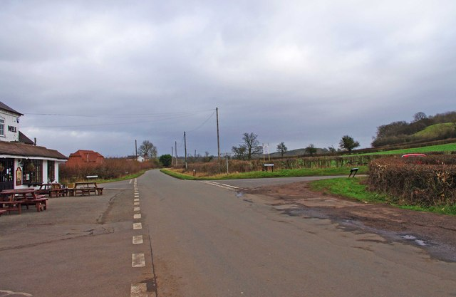 Road junction with Woodgate Road, Woodgate near Stoke Prior