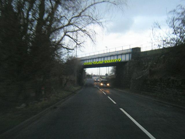 Farnworth Road passing under Liverpool to Warrington railway line