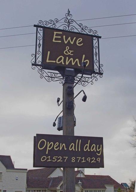 Ewe & Lamb (2) - sign, 68 Hanbury Road, Stoke Heath near Bromsgrove