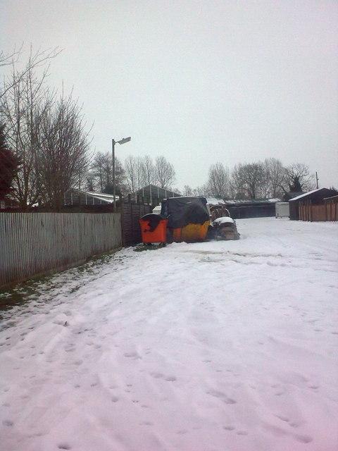 Stonham Barns entrance in the Snow