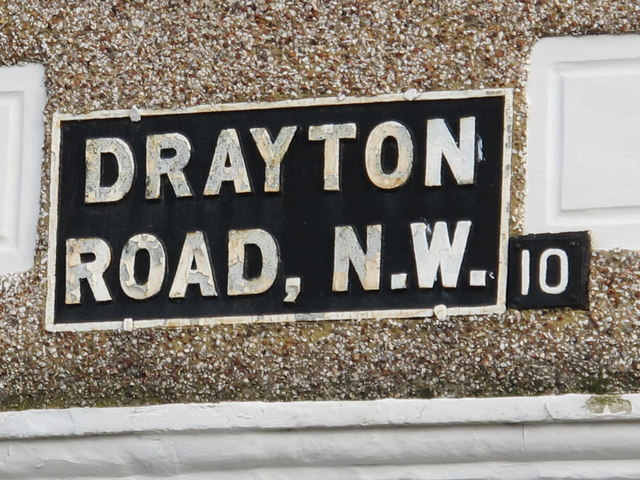 Sign for Drayton Road, NW10