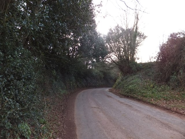 Road from Shillingford descending into Clapham