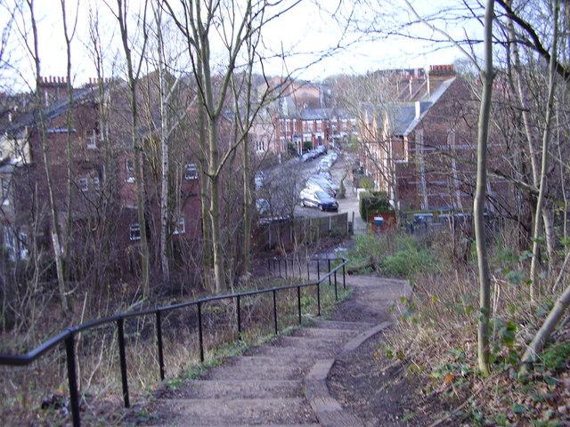 Parkland Walk:  Steps leading down to Northwood Road