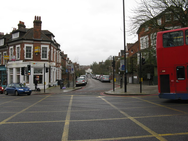 Highgate:  Highgate Avenue: looking south from the very busy Archway Road