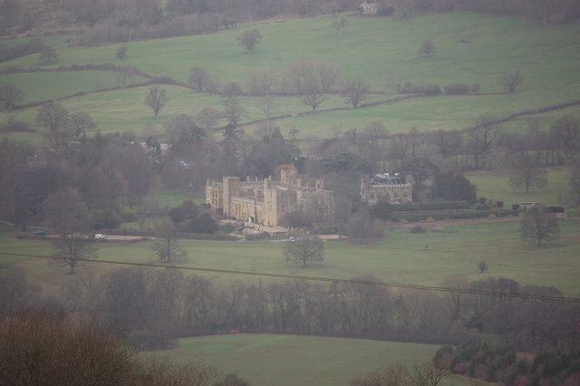 Sudeley Castle viewed from the Cotswold Way near Belas Knap
