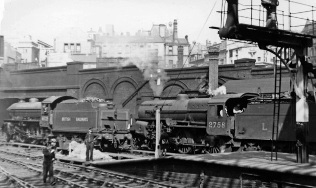 Contrasts at Birmingham New Street: LNER 4-6-0 and LMS 2-6-0