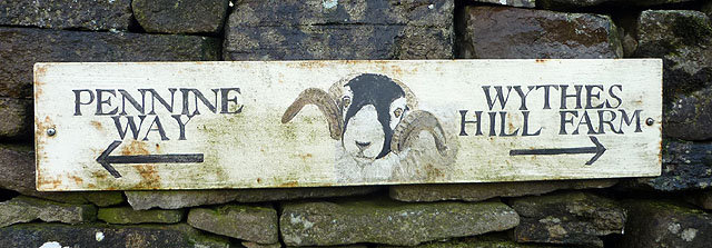 Pennine Way sign at Wythes Hill Farm