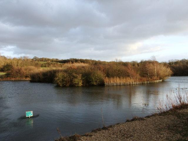 Island on lake at Langdon Lake Nature Reserve