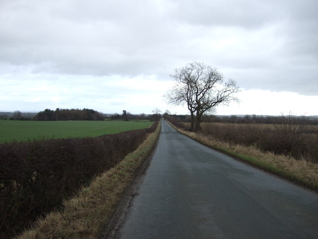 Moor Road heading east towards Bishop Monkton