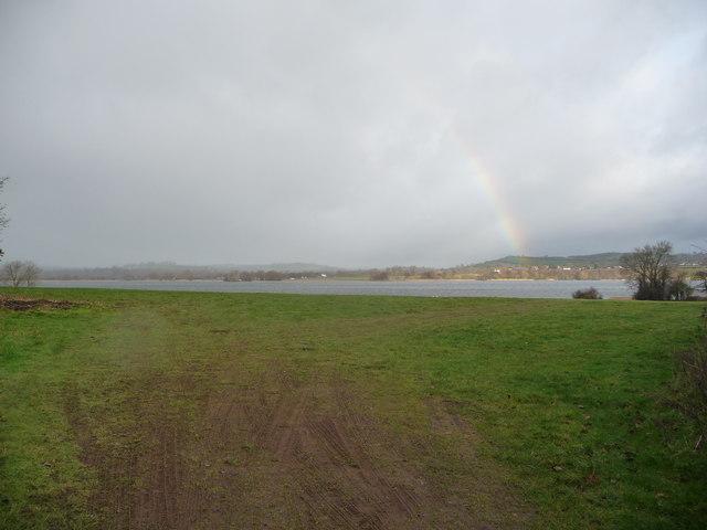 View of Llangorse Lake from fields near Llangasty-Talyllyn