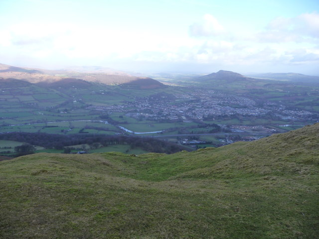 View over the northern escarpment of The Blorenge above Abergavenny