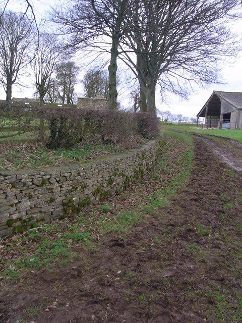 Ha-ha continues round to the farm buildings