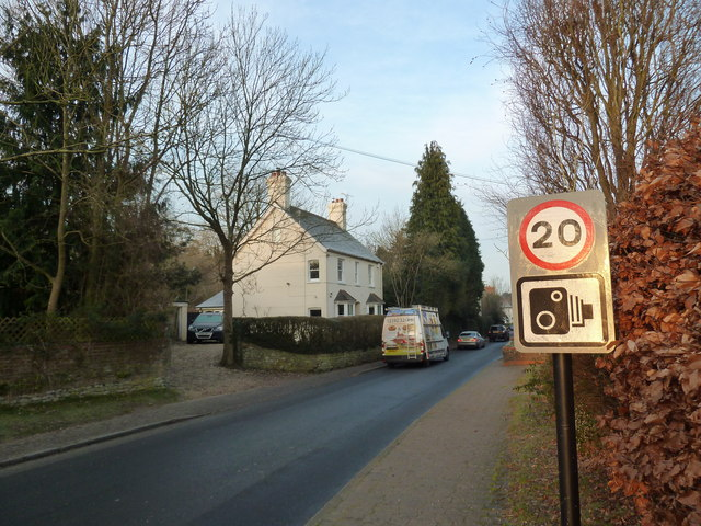 Speed camera sign on the B3006 at Selborne