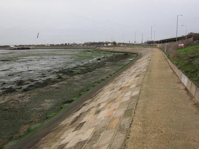Sea wall, Langstone Harbour