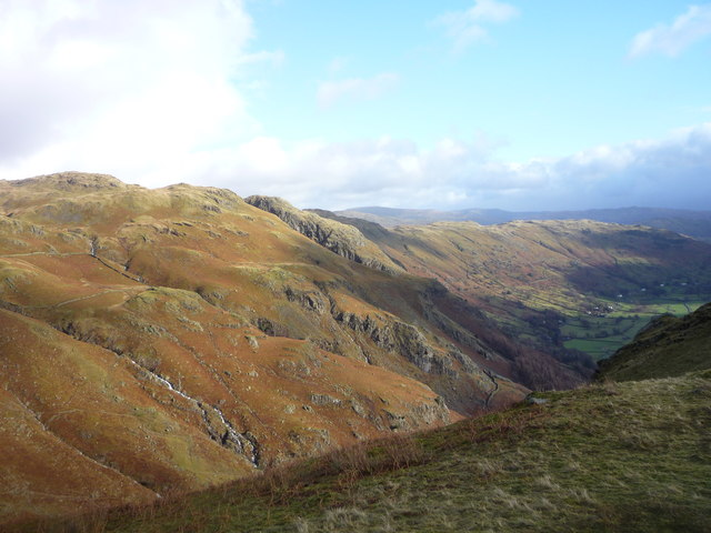 View towards Tarn Crag from ridge south-east of Harrison Stickle